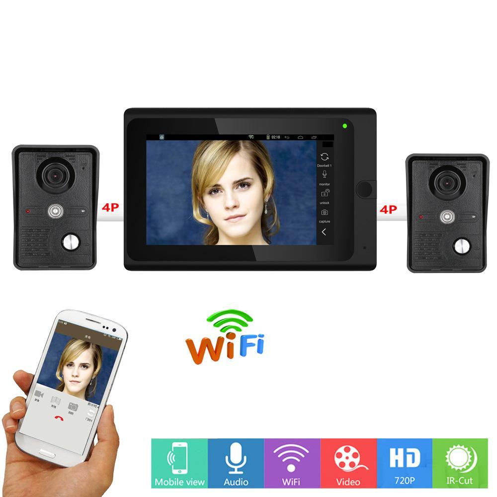 2 x Camera 7 Wired / Wireless Wifi Video Door Phone Doorbell Intercom  System,Support Remote APP unlocking,Recording,Snapshot