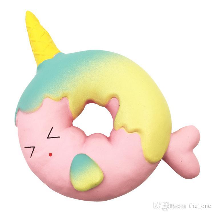 Niedlichen Regenbogen Einhorn Fisch Gesicht Ring Donut Squishy Langsam steigende Soft Squeeze Creme duftenden Brot Kuchen Spielzeug Kinder Spaß