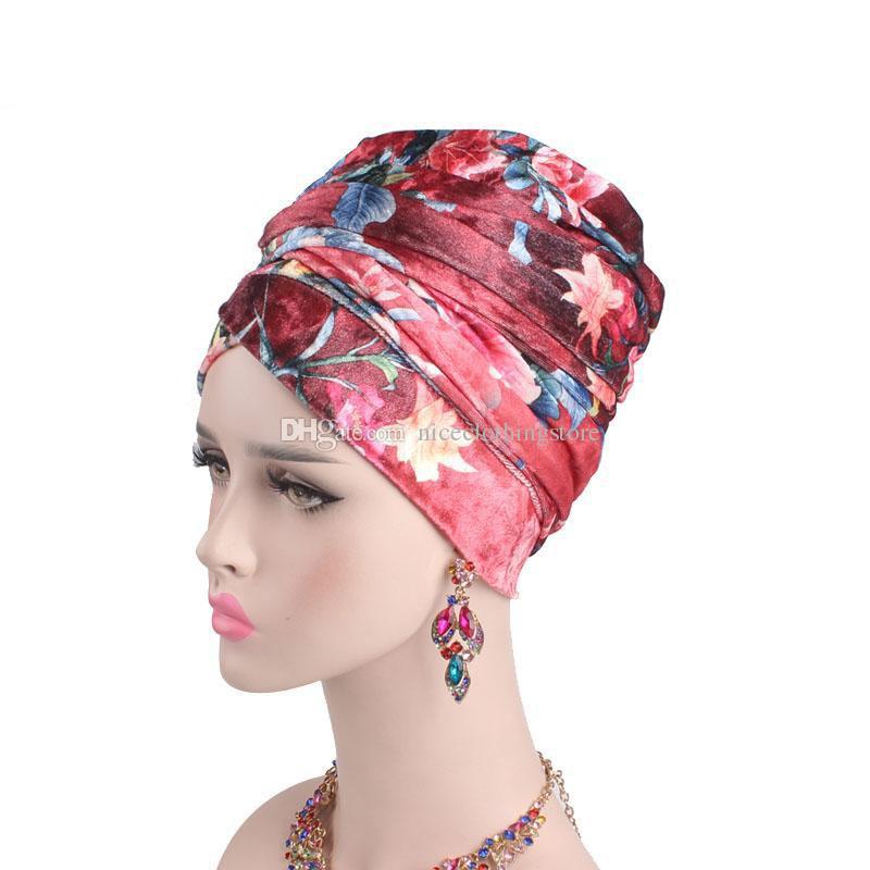 1b2fad3e31d New Women Luxury Floral Velvet Turban Nigerian Turban Hijab Extra Long Tube  Head Wrap Muslim Scarf Turbante Hair Accessories Crazy Hats Mens Beanies  From ...