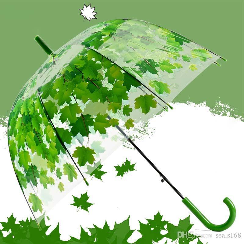 أحدث شفافة pvc الفطر المظلات الخضراء المطبوعة يترك المطر واضح ورقة فقاعة مظلة شحن مجاني XL-189