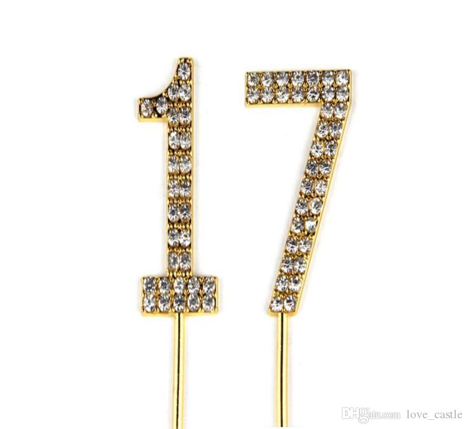 Number 17 Cake Topper 17th Baby Birthday Wedding Anniversary Cupcake Gold Alloy Meta With Glitter Crystals Decoratio1 Gift Of Kids Christmas