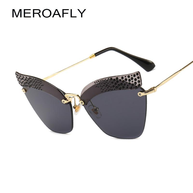 37a6fd22412d8 MEROAFLY Rimless Cat Eye Sunglasses Women Luxury Brand Designer Rhinestone  Sun Glasses For Women Retro UV400 Metal Shades Oculos Police Sunglasses  Serengeti ...