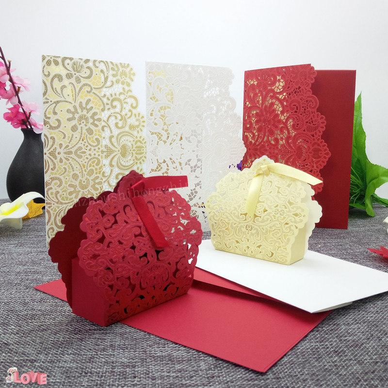 Elegant Lace Invitation Gold Red White Laser Cut Luxury Flora