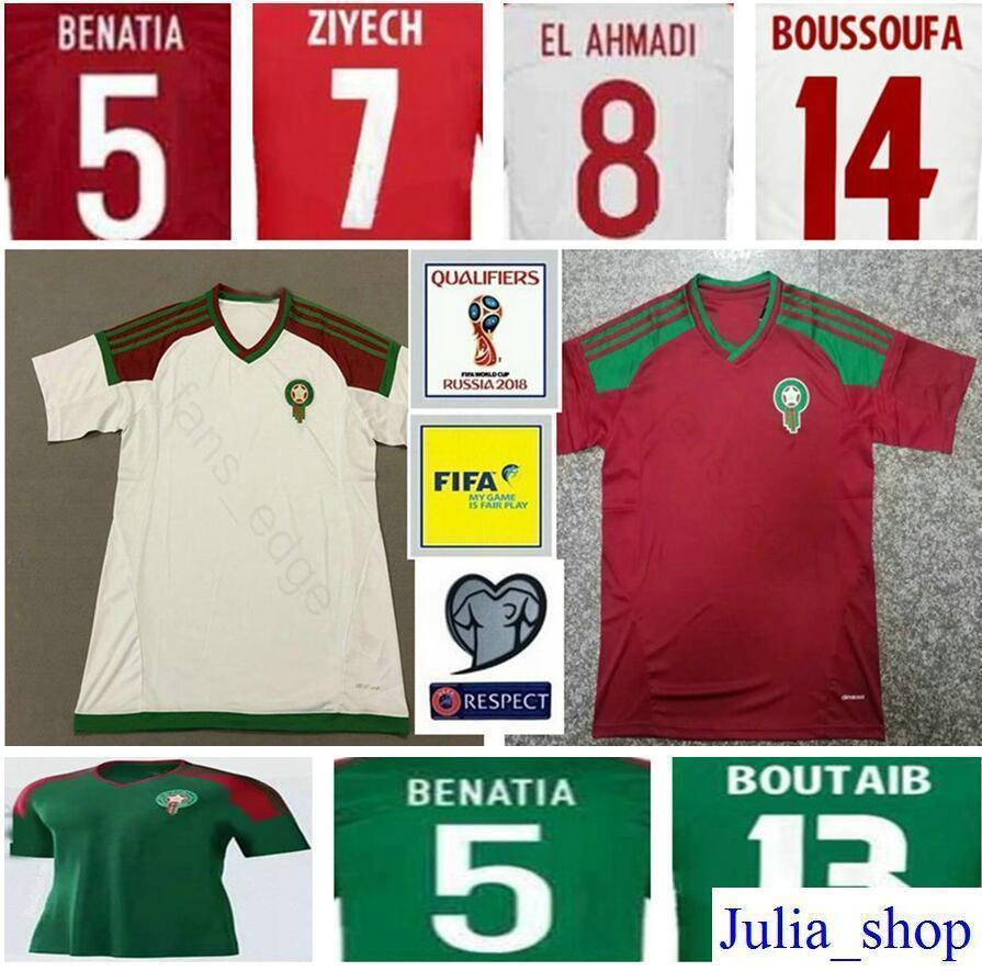 new arrivals f232f cd50b 2018 world cup morocco soccer jersey ziyech boutaib boussoufa el ahmadi ben
