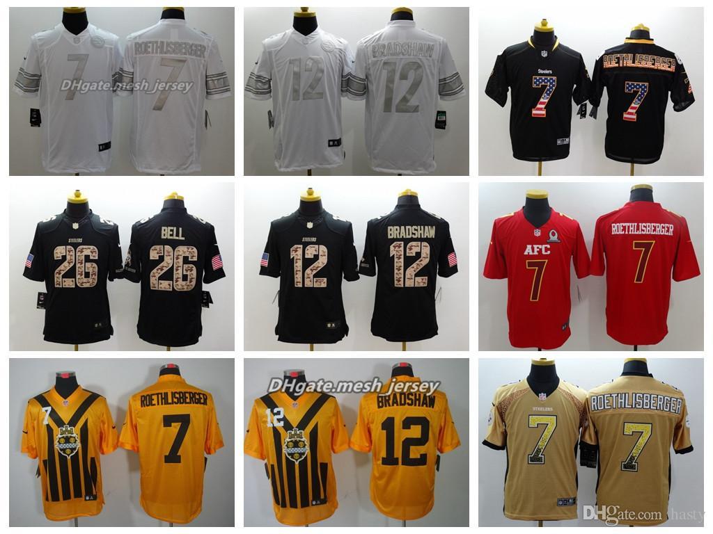 3c579262f Men Pittsburgh Jersey Steelers 26 Le Veon Bell 12 Bradshaw 7 Ben ...