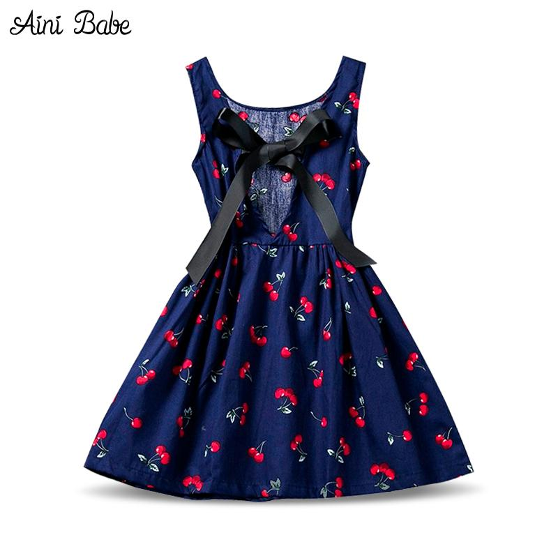 Aini Babe Floral Print Girl Dress A-line 2017 Brand Baby Kid Children Clothing Sleeveless Kids Clothes For Girls Holiday Party