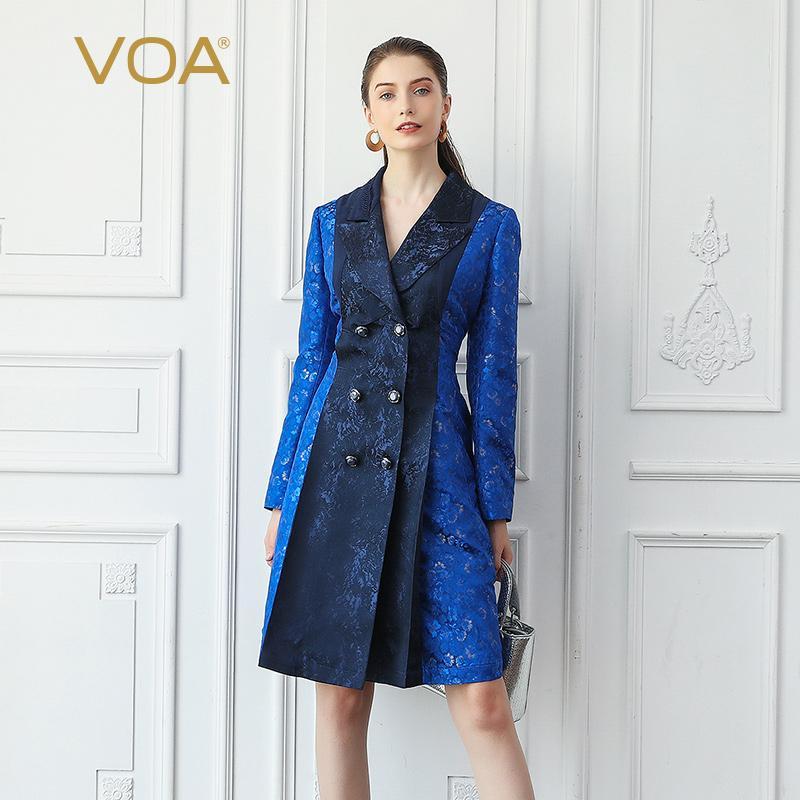 Acquista VOA Trench In Jacquard Di Seta Da Donna Elegante Abito Da Sera  Signore Vintage Soprabito Autunno Manica Lunga Slim Tunica Tuta Sportiva  F316 A ... 943a6cee9c7