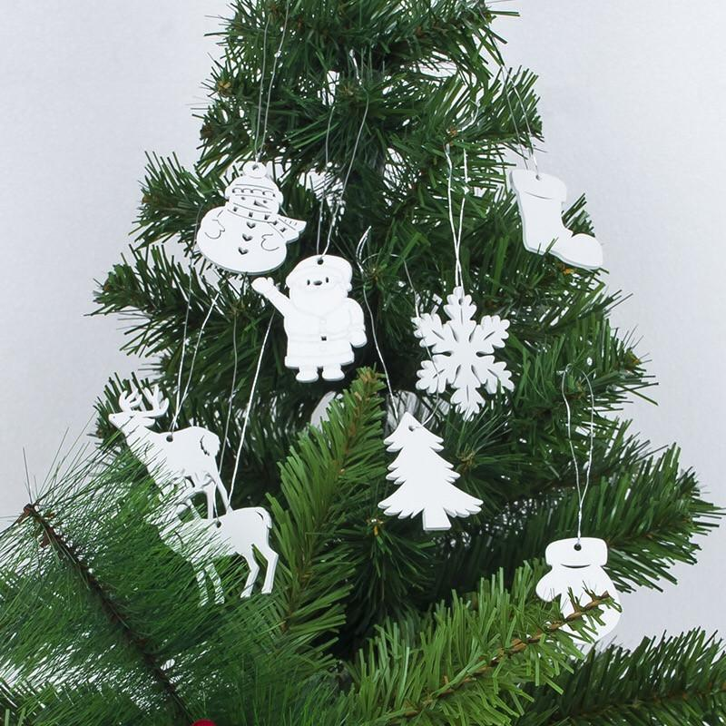 White Wooden Pendant Diy Christmas Tree Ornaments Wood Crafts Xmas