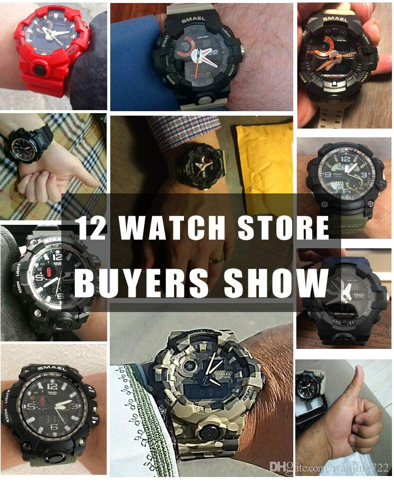 SMAEL Männer Sportuhren S-SHOCK Military Watch Mode Camouflage Armbanduhren Dive Männer Sport LED Digital Wasserdichte Uhren