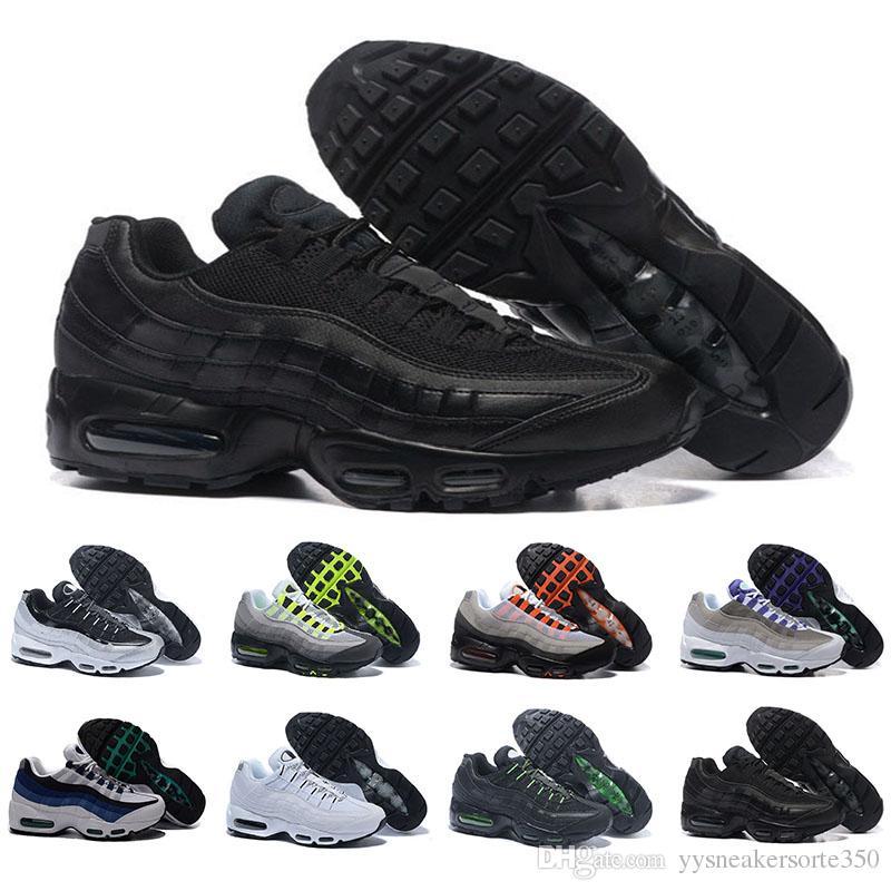 size 40 651cb 96a2e Compre Nike Air Max 95 Airmax Descuento Marca Moda Mujer 95 Zapatos  Casuales Para Mujeres Deportes Respirables Negro Blanco Rojo Zapatillas De  Deporte Para ...