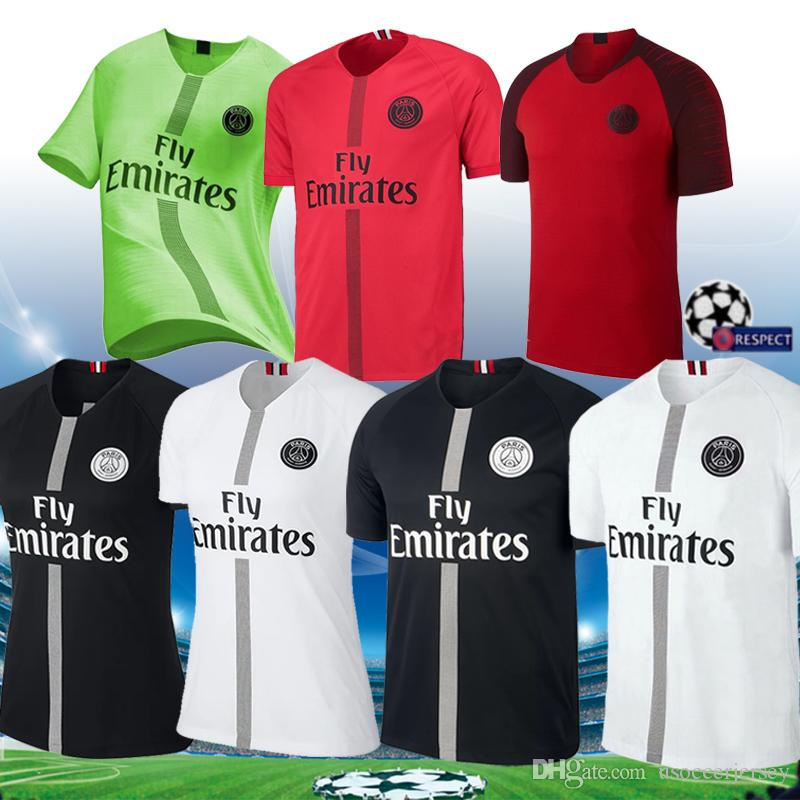 san francisco 10b5d 6bc4f 2018 2019 black psg soccer jersey red MBAPPE maillots 18 19 green Paris  CAVANI saint germain Maillot de foot MARQUINHOS football shirt