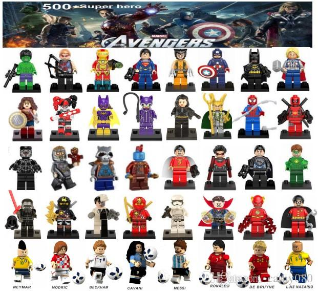 Minifiguren Superhelden Rächer Ironman Deadpool Logan Superman Batman Weltcup Messi Neymar Ronaldo Mini Figuren Bausteine
