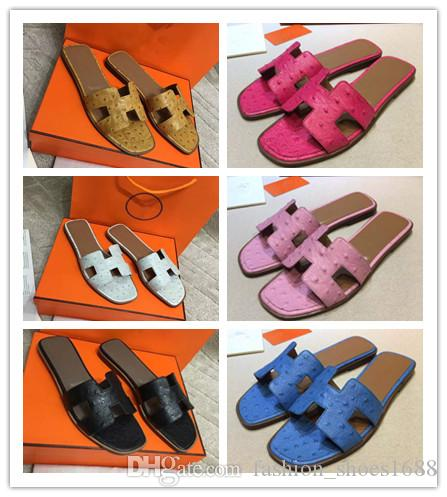 7ffdd94ac3a222 2018 New Woman Slippers with Ostrich Leath Classic Style Summer Flip ...