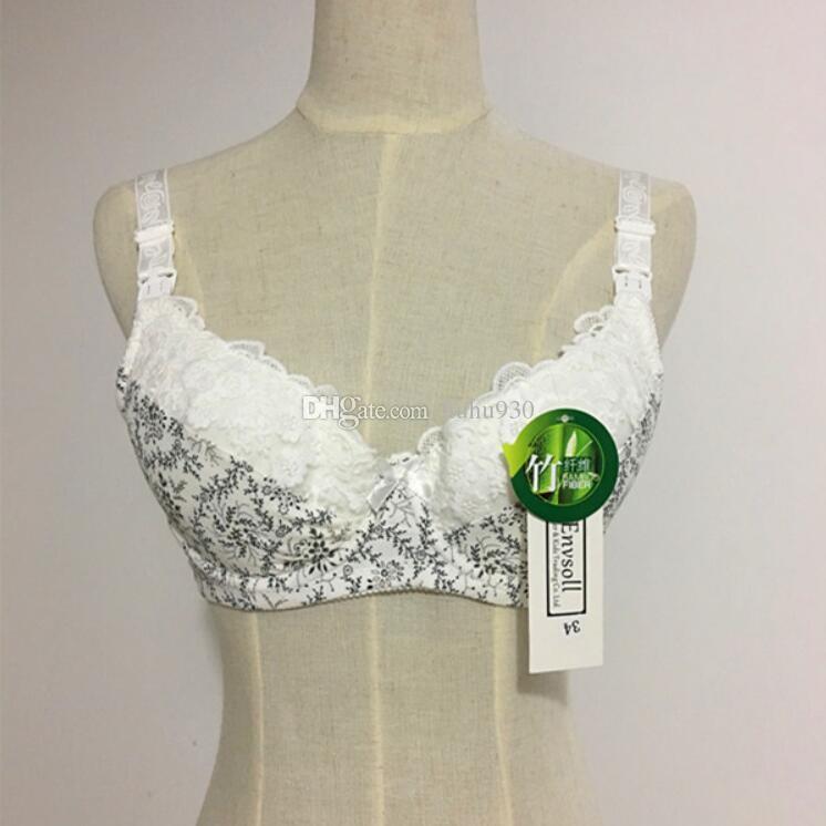 Bambusfaser Still-Bh Schwangerschafts-bh Schwangerschaft Kleidung Für Schwangere Frauen Blumenspitze Fütterung Bh Tops Unterwäsche Stillen