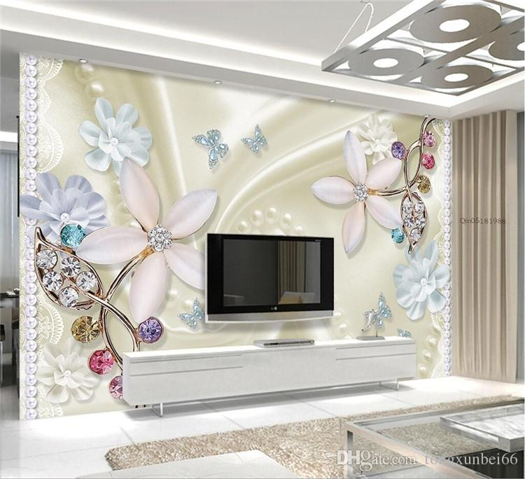Custom Any Size Mural Wallpaper Background Photography Color Butterfly Crystal Diamonds Bathroom Wall Painting for Living Room