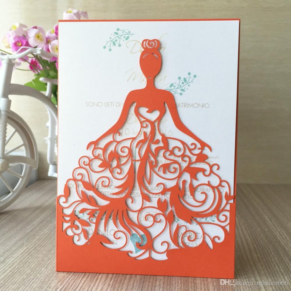2018 Hot Red Laser Cut Wedding Invitations Wedding Dress Different ...
