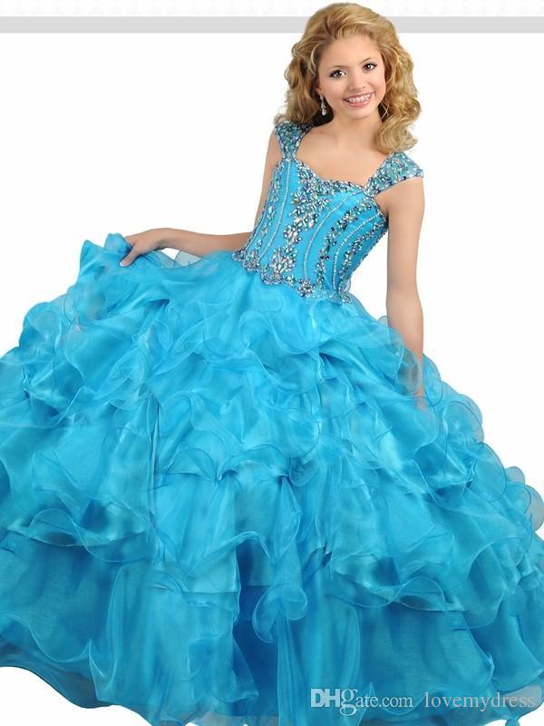 f140cc8b3e6c Fantastic Blue Girls Pageant Dresses Cheap Ruffles Layered Organza ...