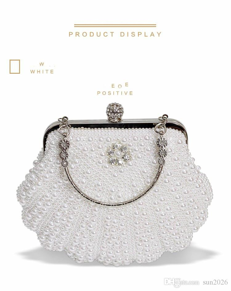 Beautiful Luxury Pearl Beading Evening Bag Bridal Wedding Party Diamond Clutch Purse Small Chain HandBags Day Wallet Purse Banquet Mini Pear
