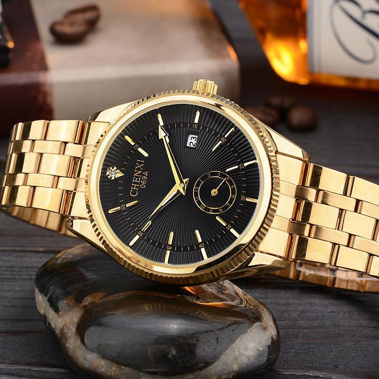 2a10cae15d6 Compre CHENXI Relógio De Ouro Homens Relógios Clássico De Luxo Famoso  Relógio De Pulso Masculino Relógio De Quartzo Relógio De Pulso Calendário  Relogio ...