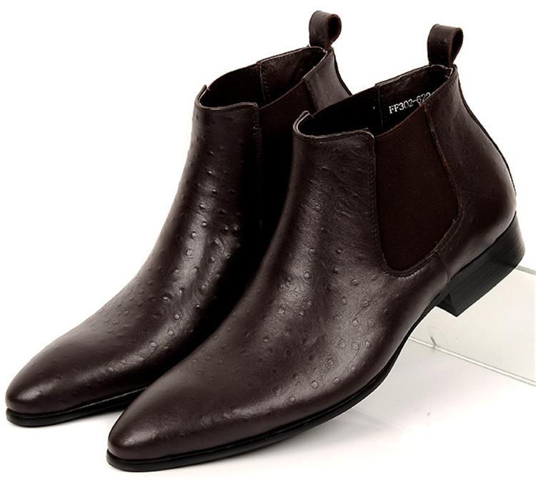 40c6eca2c1 Compre Moda Negro   Marrón Punta Estrecha Zapatos De Negocios Para Hombre  Botines Zapatos De Vestir De Cuero Genuino Para Hombre Formal A  133.56 Del  ...