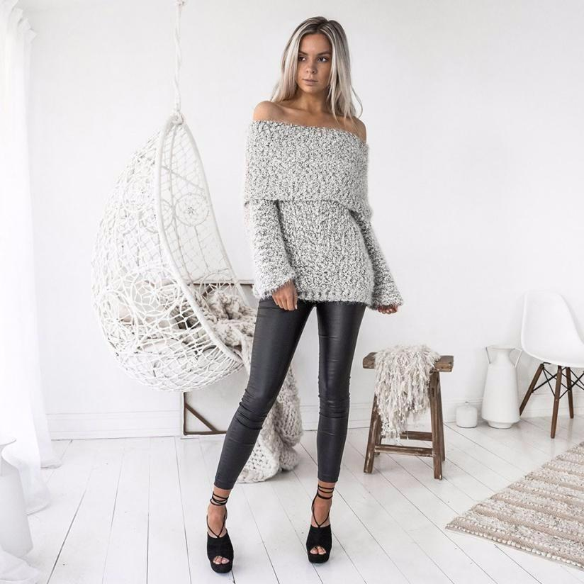 Womens Sexy Off Shoulder Winter Casual Loose Long Sleeve Jumper Coat  Kardigany Damskie 2018 Fashion Sweater UK 2019 From Modeng05 623709028