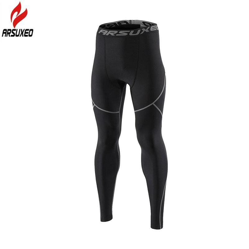 Acheter Arsuxeo Hiver Chaud Polaire Thermique De Course Collants Hommes Gym  Fitness Crossfit Football Formation Sport Leggings Pantalon De Compression  De ... abedcfeb980