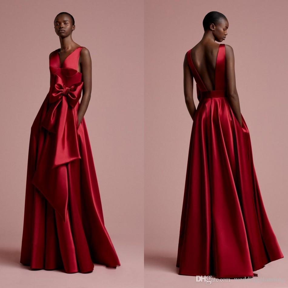 100% authentic 60ceb bf0bb Aso Ebi Rose abiti da sera lunghi rossi tasche nigeriani abiti da sera sexy  backless 2018 abiti da ballo scollo a V profonda africani da cerimonia