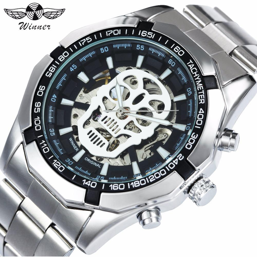 ca7f5a3a284 Compre WINNER Mens Relógios Top Marca De Luxo Auto Mecânico Relógio De Ouro  Pulseira De Aço Inoxidável Crânio Esqueleto Dial Moda Relógio De Pulso De  ...