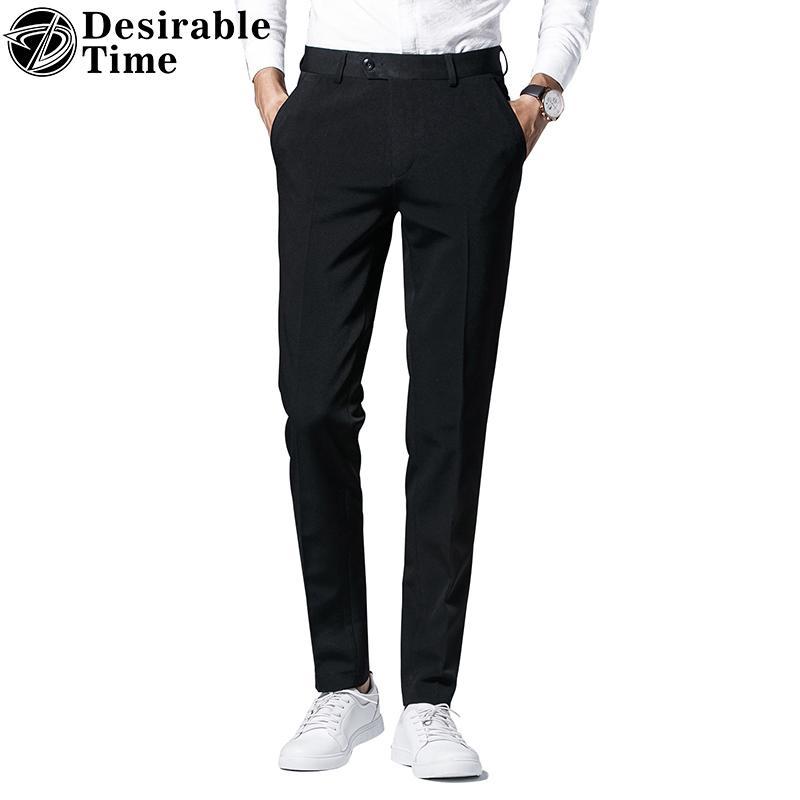 Compre Tiempo Deseable Para Hombre Pantalones De Vestir Negros Talla 28 36  Moda Marca Slim Fit Para Hombres De Negocios Pantalones Para Hombres DT143  A ... d61de5d26c33