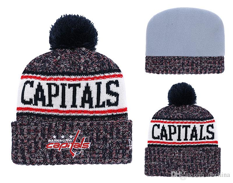 New Beanies Capitals Hockey 2018 Hot Knit Beanie Pom Pom Knit Hats ... 3d4f1203f9c1