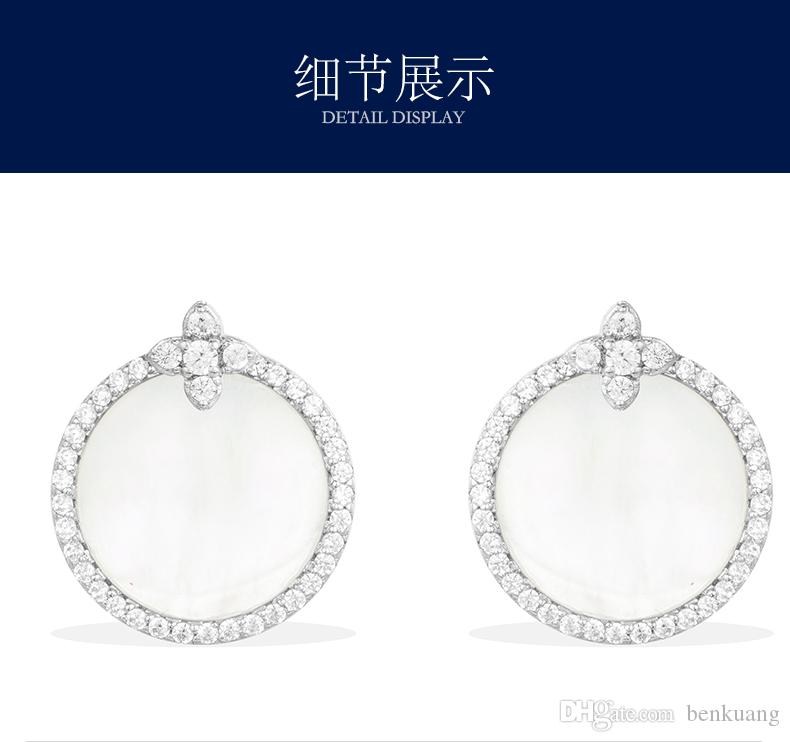 Aretes de marisco, Diamantes con incrustaciones de mano, Moda de la marca famosa de alta gama Plata esterlina con joyas de diamantes, Empaques de empaques de marca fina