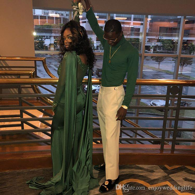 Hunter Green Jewel Neck Sheer Tulle Long Sleeves Mermaid Prom Dresses Lace Appliques Sequined Evening Gowns with Long Wrap Black Girls Wear