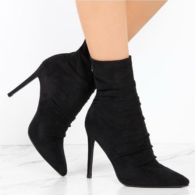 6a935bc7d43f Pointed Toe High Heel Sock Boots Suede Leather Short Ankle Boots For Women  Sexy High Heel Women Boots 43 Size Bootie Buy Shoes Online From  Designshoes777