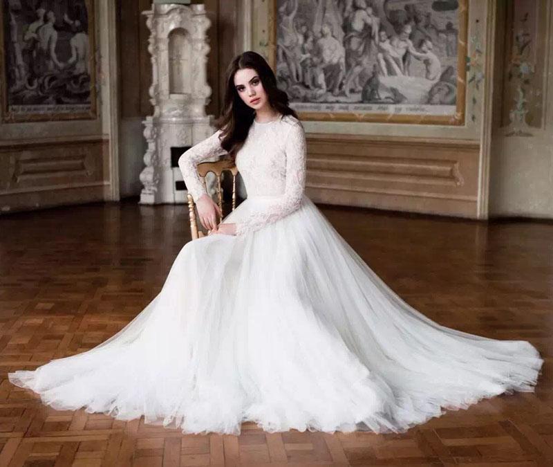 Großhandel 2017 Langarm Spitze Modest Brautkleider Einfache Muslim ...