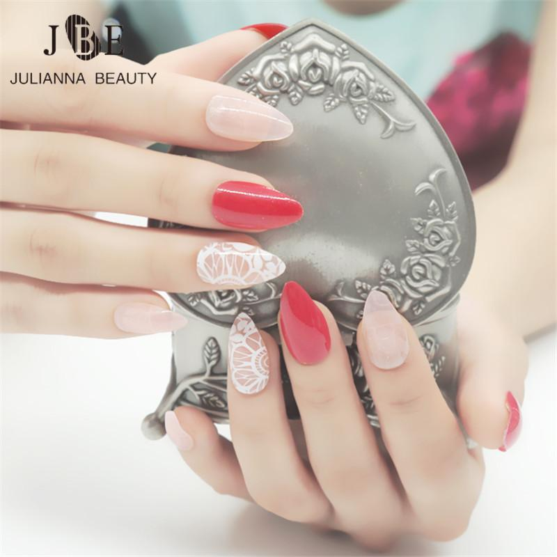 Long Stiletto False Nails Sharp Artificial Flower Lace Nails Pointy ...
