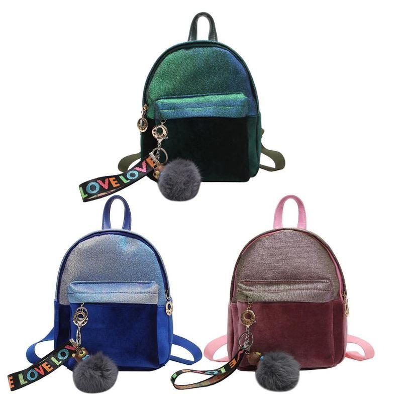 736c0fbbe1f4 Women Mini Velvet Backpack Fashion School Bags For Teenager Girls Student  Travel Daypack Female Shining Small Backpack Hydration Backpack Womens  Backpacks ...