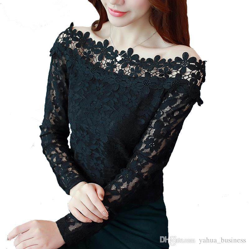 5b11b709e15ef0 2019 2018 Spring New Fashion Women'S Chiffon Lace Blouse Sexy Slash Neck  Off Shoulder Shirts Casual Black White Lace Long Sleeve Tops From  Yahua_business, ...