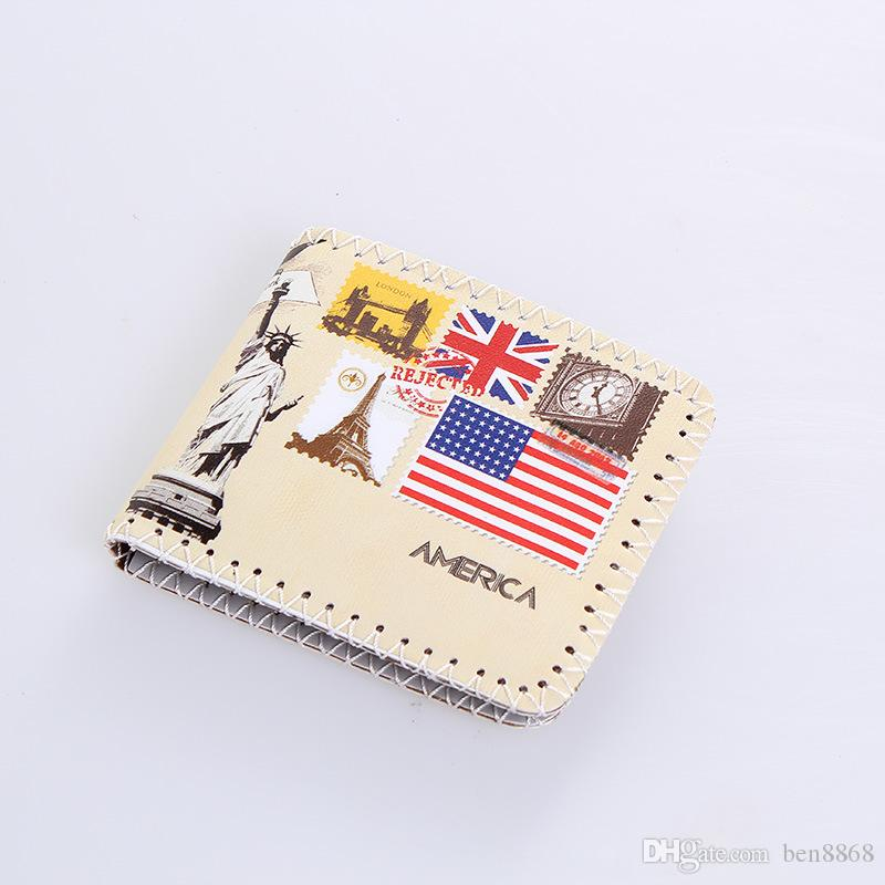 Hot Selling ! Nice Unisex Cartoon Printing Bifold Wallet PU Short Men Women Wallet Eiffel Tower Statue of Liberty Wholesale Wallet