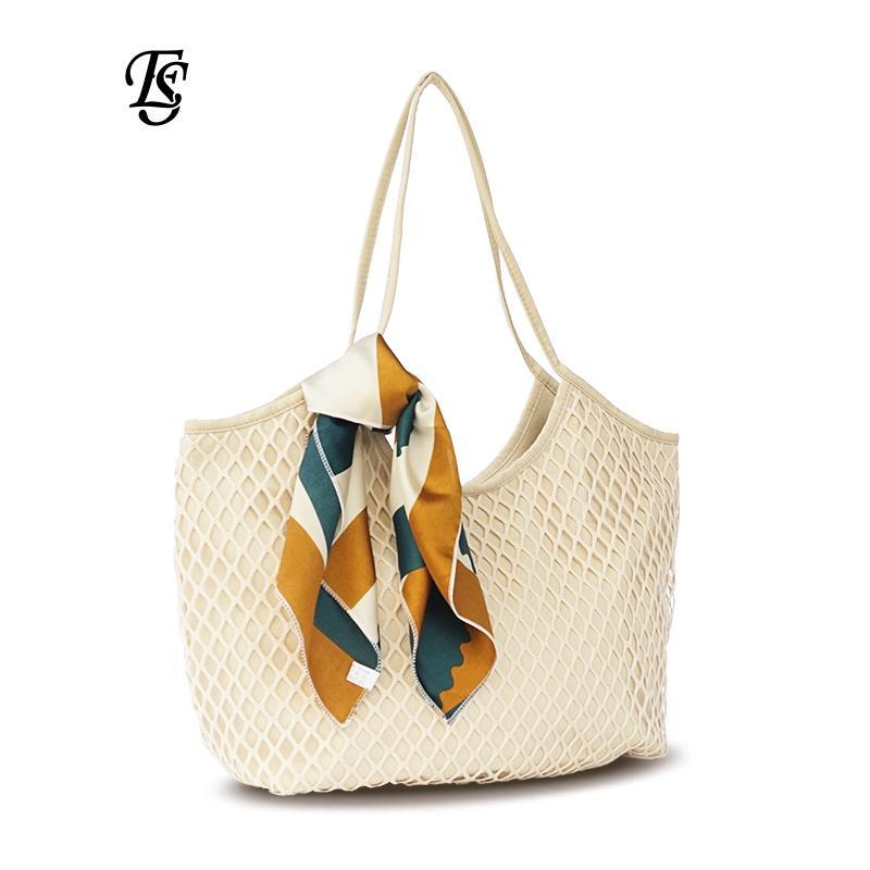 927c4eccdb04 E.SHUNFA Brand Canvas Mesh Beach Bag 2018 New Arrival Fashion Large  Capacity Female Handbag Scarves Casual Women Shoulder Bag Women Handbags  Weekend Bags ...