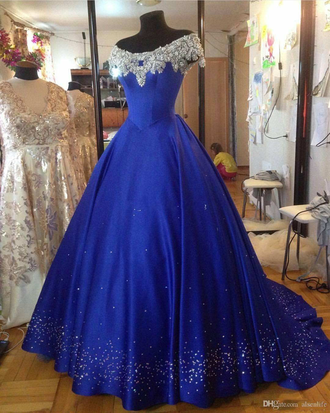 Shinny Royal Blue Ballkleid Abendkleider 2017 Schulterfrei Cap Sleeves Friesen Arabisch Plus Size Abendkleid Neue Quinceanera Kleider