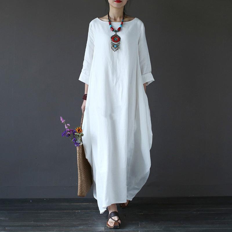 3b16e156bee36 Cotton Linen Plus Size Dresses For Women 4xl 5xl 6xl Long Sleeve Long Maxi  Dress Vintage Vestidos White Red Summer Dress 2018 Y1890810 Blue Dresses  Plus ...