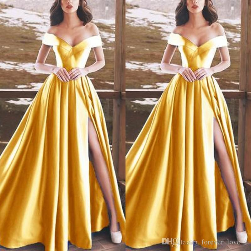 7bc1c3d4504 Stunning Long Formal Prom Dresses Cheap High Quality Off The Shoulder  Simple Yellow Evening Party Gowns With Front Split Floor Length Camouflage  Prom ...