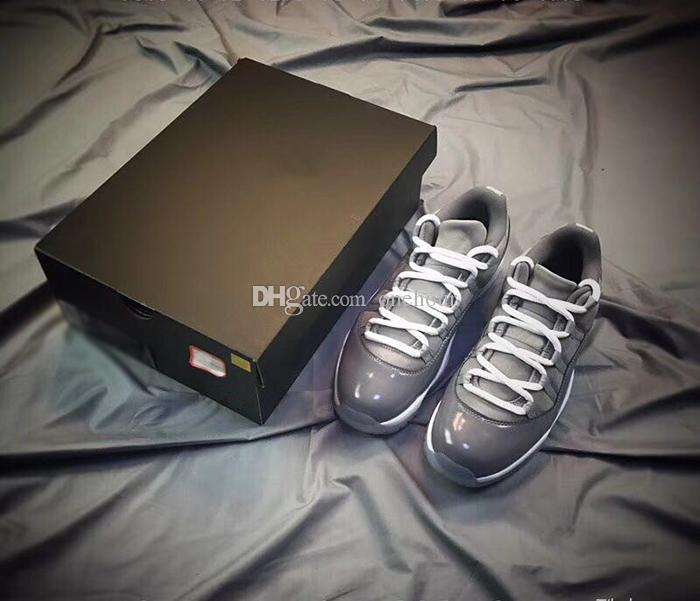 New Release 11 Low Cool Grey Basketball Shoes For Men Classical mens Grey Gunsmoke White Authentic designer shoes Real Leather Carbon Fiber