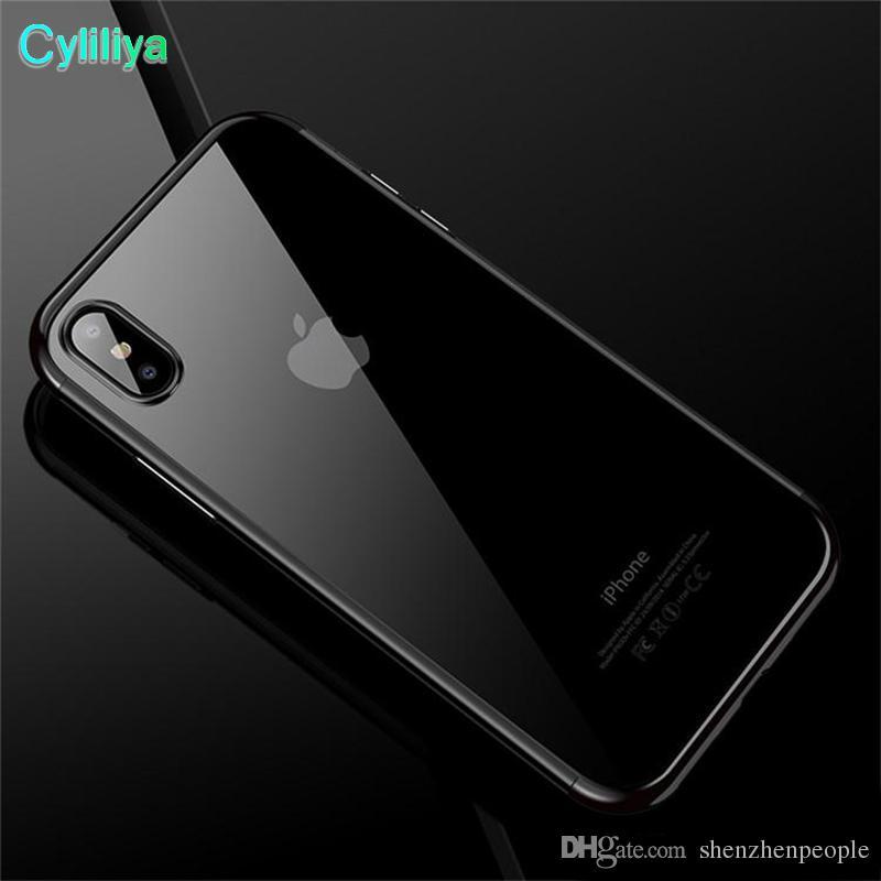 Luxury 3 in 1 Soft TPU Clear Plating Case para iPhone X XS XR Max 8 7 6 6S Samsung S6 S7 S7 S8 S9 Plus de Edge Nota 8 Note8 A6 A8 J2 Pro J4 J6 2018