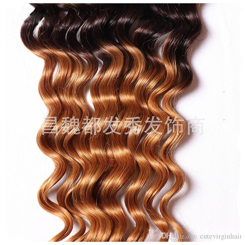 Deep Wave Human Hair Ombre Weave 3 Bundles With 4*4 Lace Closure 1B/4/27 Three Tone Dark Brown Honey Blonde Hair Extension