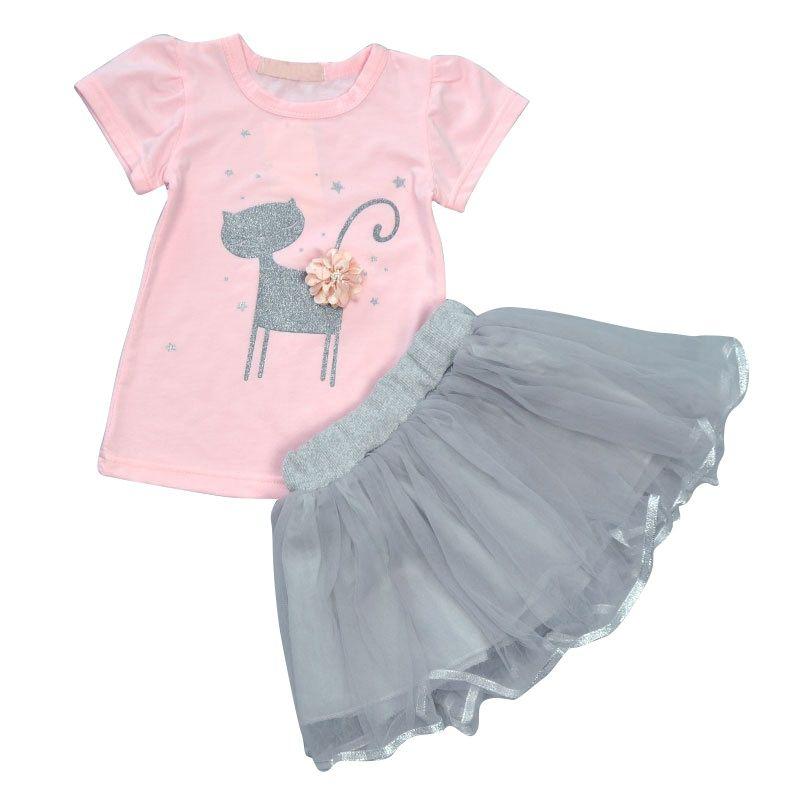 349a7892 Kids Girls Summer Cute Cat Printed T-Shirts+Tutu Skirt Baby Girls Short  Sleeve Cartoon Printed Clothing 2Pcs/Set