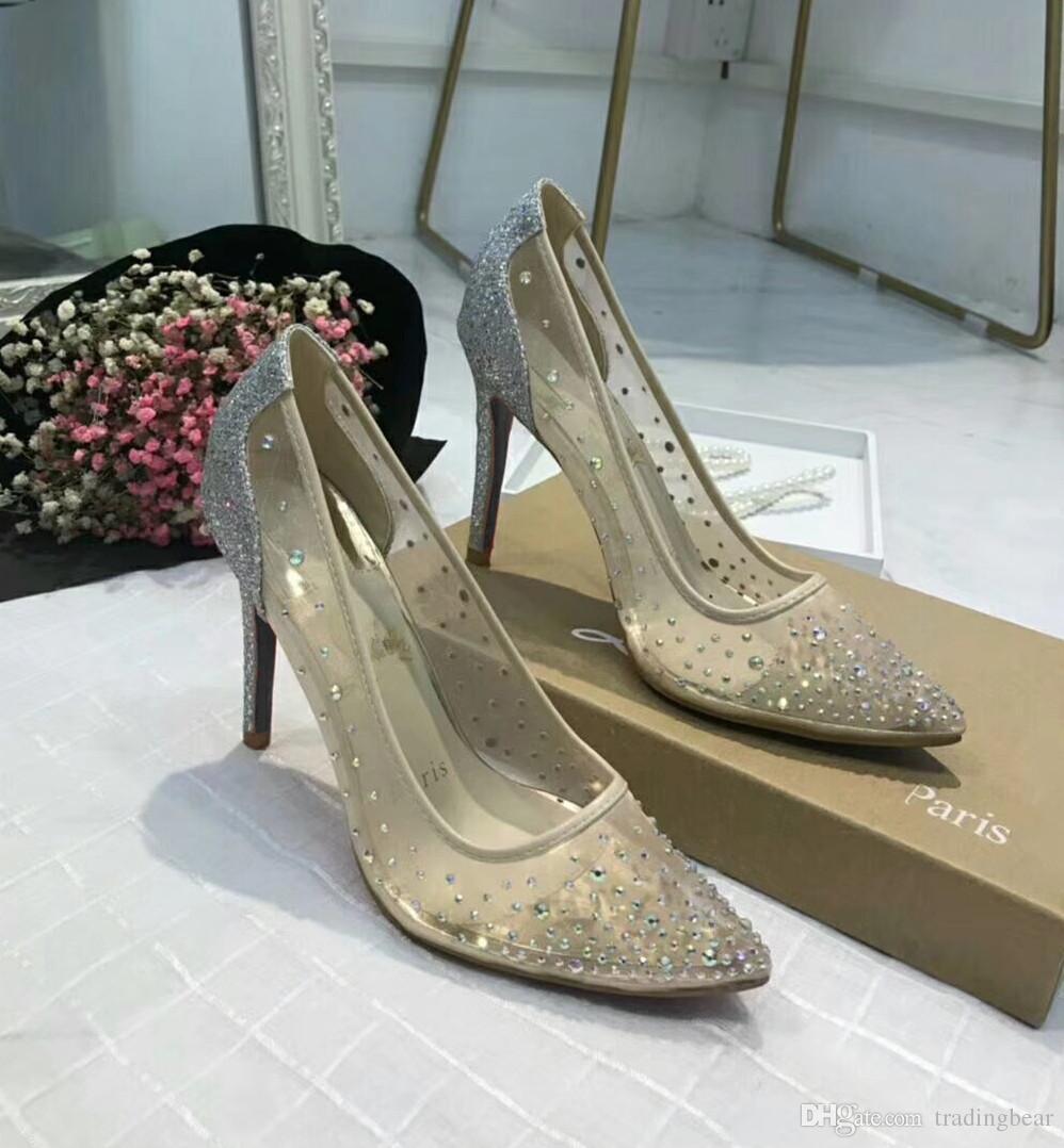 kutu ve logosu lüks tasarımcı ayakkabı büyüklüğü 34 40 için olan seksi kırmızı dipli yüksek topuklu çıplak meshy yapay elmas düğün ayakkabıları