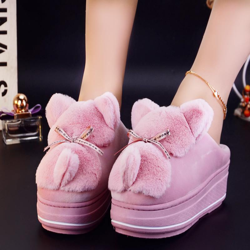 animal slippers house shoes slides women fur mules warm winter