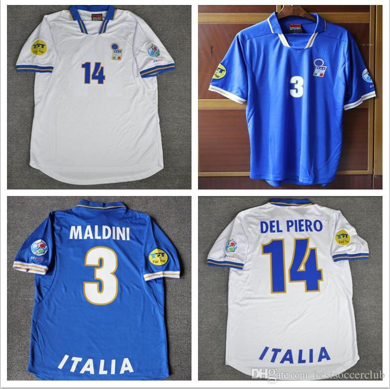 cde31711751 2019 1996 Italy Home Blue Away White Football Shirts 3 Maldini 19 Chiesa 14  Del Piero 20 Ravenelli 6 Nesta 21 Zola 96 Italia Soccer Jersey From ...