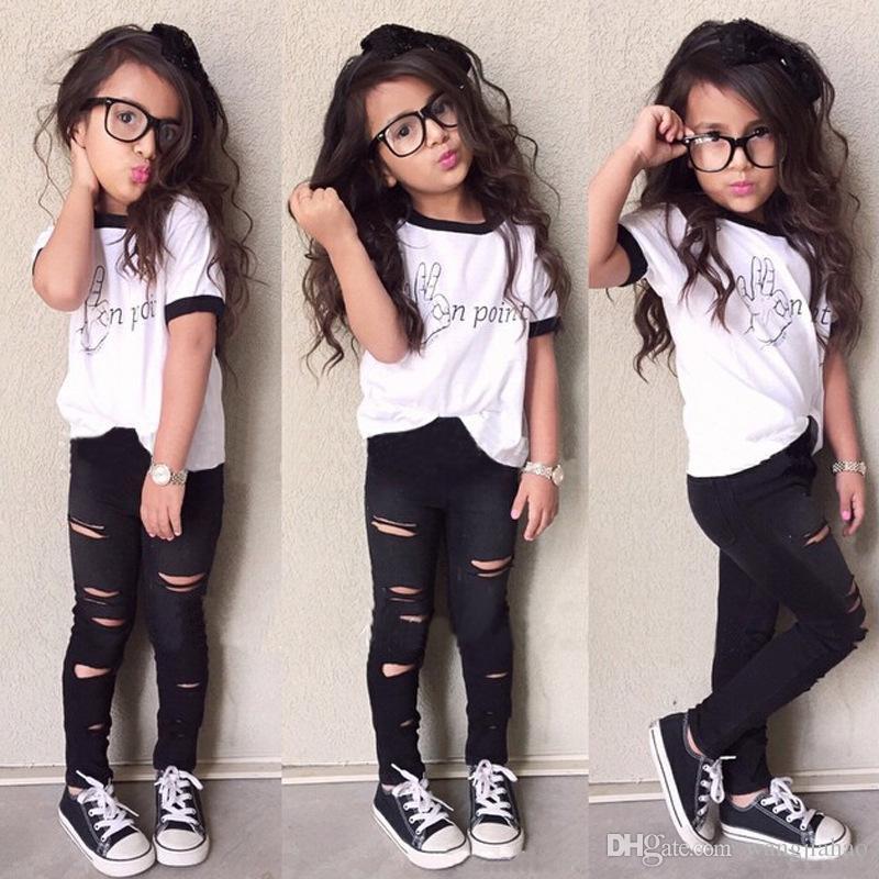 7a7c09bc7cdc9 2018 Girls Children's Girls Clothing Letters Cotton T-shirts Hole Jeans  2Pcs Set Fashion Girl Kids Pants Suits Boutique Enfant Clothes